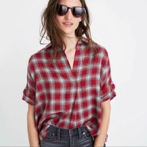 Madewell Red Plaid top